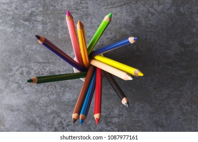 Top view of multicolored pencils.