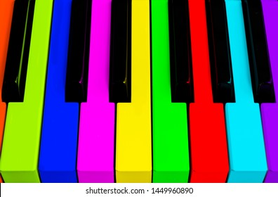 Top view of multicolored piano keys. Close-up of piano keys. Close frontal view. Piano keyboard with selective focus. Top view. Colorful Piano keyboard perspective with red button. Soft lighting
