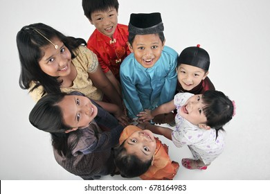 Top view of multiracial kids