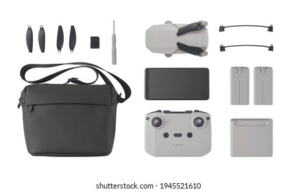 Top view of multirotor and flight accessories isolated on white background