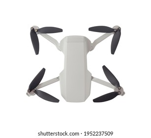 Top view of multirotor with propellers isolated on white background