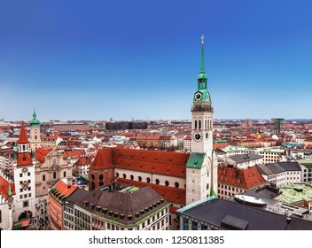 Top view of Munich, St. Peter's Church, old town hall and city buildings, Bavaria Germany