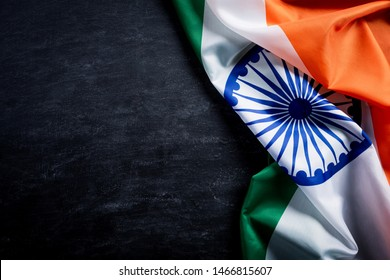 Top view of National Flag of India on blackboard background. Indian Independence Day.
