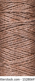 Top view of natural jute twine skein texture. Close up. Long poster.