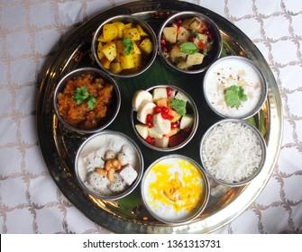 top view of navratri thali, indian food