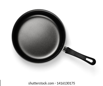 Top view of new empty nonstick frying pan isolated on white