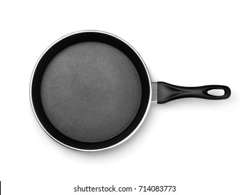 Top view of new frying pan isolated on white