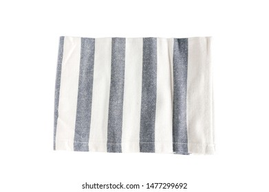 Top view new kitchen towel in blue strip and white color simple pattern on white background isolated and clipping path . Equipment necessary  in kithchen for wippe things.