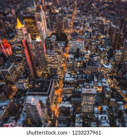 Top view of New York City, Tilt and Shift Blur