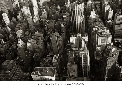 Top view of New York City. Black and white