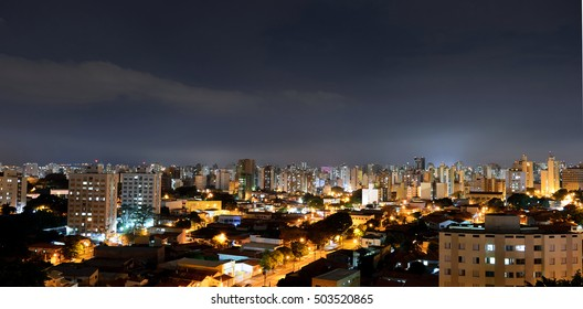 Top view at night of the city of Campinas, in Brazil