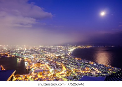 Top view night of Hakodate city and bay Japan