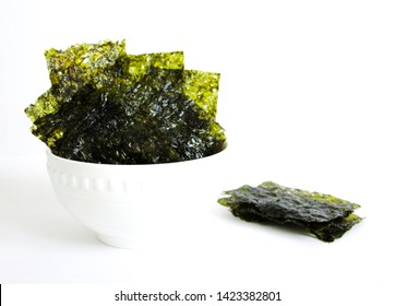 Top view of Nori , Japanese edible seaweed used as a wrap for sushi and onigiri. healthy snack.