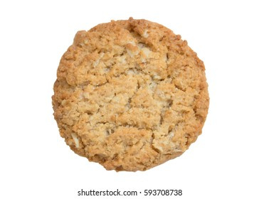 top view of oat cookie isolated white background