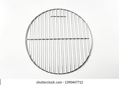 Top view object  BBQ equipment   with grill circle on white background
