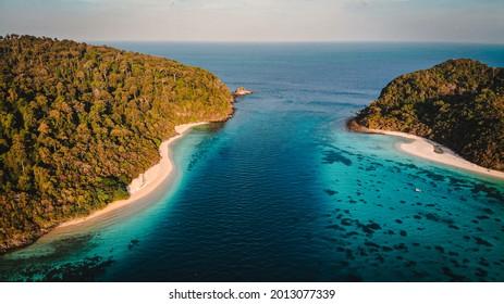 Top view the ocean Kho Rok ,Rok island ,