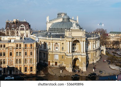 Top view of the Odessa Opera and Ballet Theater in the heart of Odessa, Ukraine. In the city and the sea mist