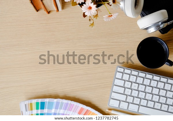 Remarkable Top View Office Desk Books Colour Stock Photo Edit Now Interior Design Ideas Clesiryabchikinfo