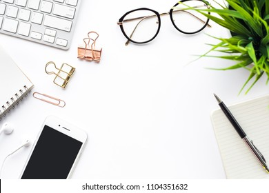 Top view of office desk table with modern accessories.flat lay background design.business and technology concepts ideas