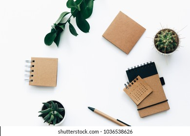 Top view of office supplies and branches, succulent . Flat lay minimalistic green and brown styled home office desk workspace