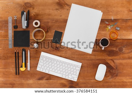 Top view office workplace. Wallpaper, advertising, post on social networks. View from
