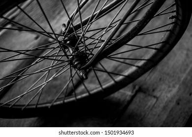 top view old bicycle wheel texture vintage style,whole front black and white memento memory of old time bike photo
