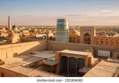 Top view of old city of Khiva, Ichan-Kala fortress at sunset