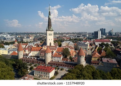 Top view of the old city of Tallinn with red roofs.