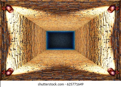 Top view of old flooded elevator shaft or well with brick walls and point lights, 3d illustration