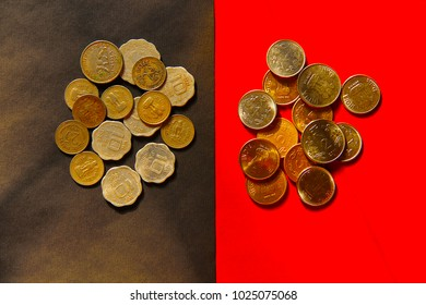 Top view of old and new Indian coins currency