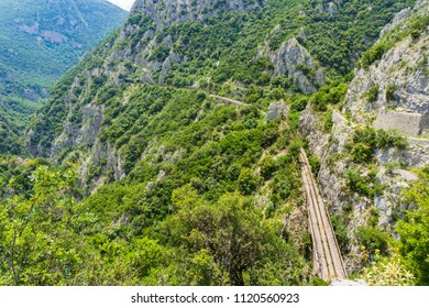 Top view of the old railway track at Asopos gorge near national park of Oiti in Central Greece