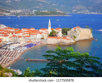 Top view to the Old Town od Budva in Montenegro in sunny summer day
