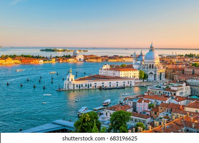 Top view of old town Vanice at sunset in Italy