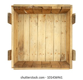 Top view of old wooden box isolated on white background
