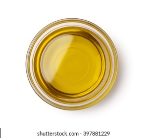 Top view of olive oil bowl isolated on white