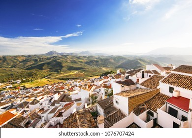 Top view of Olvera village, one of the beautiful white villages (Pueblos Blancos) of Andalucia, Spain