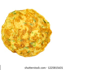 Top view of omelet (Omelette) with green onion isolated on white background. Simple food. Asian style. Free space for any text design.