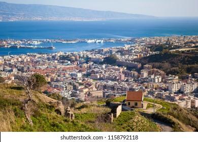 Top view on beautiful Italian city Messina in Sicily, Mediterranean sea and Regio Calabria. Italy
