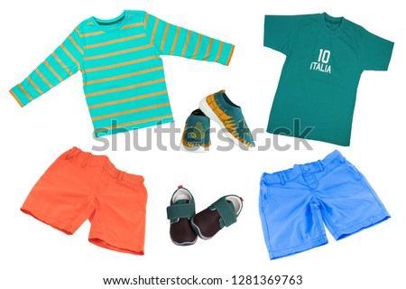 f80cde633e Top view on child boy set of clothes. Collage of apparel clothing. Short  pants