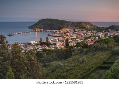 The top view on city Horta, island Faial, Azores