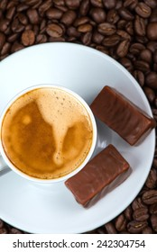 top view on coffee with chocolate