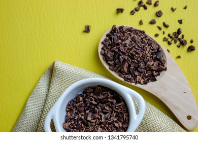 Top view on composition copy space of crunchy Cacao superfood for better healthy lifestyle concept