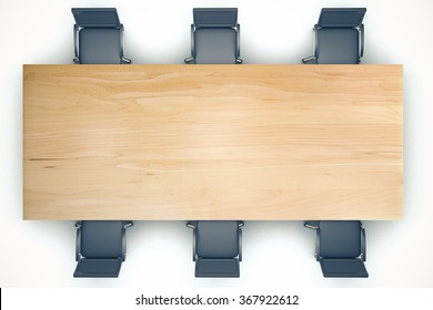 Top view on conference wooden table and black chairs 3D Render