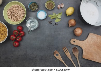 Top view on cooking legumes background with indian cuisine recipe ingredients.