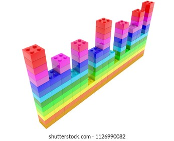Top view on diagram  built from toy bricks in various colors.3d illustration