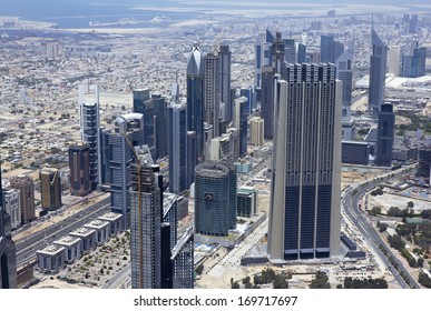 The top view on Dubai from the highest tower in the world, Burj Khalifa (828 metres). (United Arab Emirates).