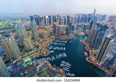 Top view on Dubai Marina and luxury yachts at the sunset,Dubai,United Arab Emirares