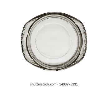 the top view on the empty glass jar of an oval form isolated on a white background