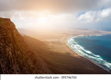 Top view on Famara coastline on the northern part of Lanzarote island in Spain