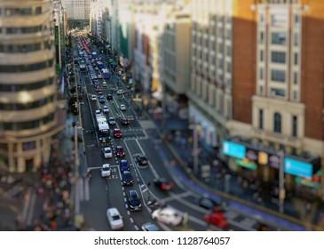 Top view on Gran Via street, Madrid, Spain